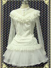 Lolitashow White Lace Lolita Blouse Long Sleeves