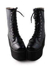 Lolitashow Gothic Black Lolita Boots High Platform with Shoeslaces