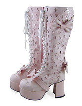 Lolitashow Sweet Lolita Boots with Hallow Heart Bows and Shoelace