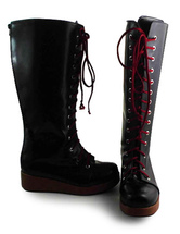 Lolitashow Gothic Black Lolita Boots with Wine Shoelace