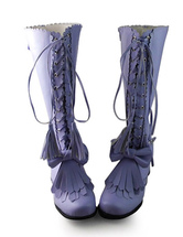 Lolitashow Matte Purple Lolita Boots with Tassel and Shoelace