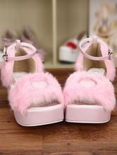 Lolitashow Sweet Pink Lolita Sandals Platform Fluffy Heart Shape Ankle Strap