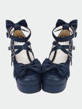 Lolitashow Lolita azul marino Pony gruesos tacones zapatos plataforma tobillo correas arcos hebillas de forma de corazón
