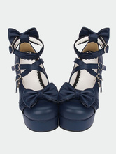 Lolitashow Navy Blue Lolita Chunky Pony Heels Shoes Platform Ankle Straps Bows Heart Shape Buckles