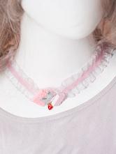 Lolitashow Sweet Pink Lace Lolita Choker Star Strawberry Decor Poly/Cotton Blend