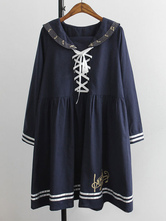 Lolitashow School Lolita Dress Lacing Embroidered Music Note Long Sleeves Lolita Dress