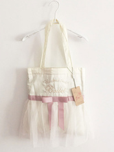 Lolitashow Sweet Lolita Bag Pink Ribbon Bow Tull Ruffle Lolita Tote Bag With Embroidered