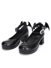 Lolitashow Gothic Lolita Shoes Black Cross Mary Jane Ankle Strap Gothic Lolita Shoes Kitten Heels Pumps With Evil Wing