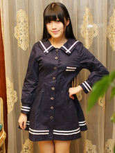 Lolitashow Sailor Lolita Dress Stripe Long Sleeves School Lolita Dress
