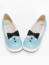 Lolitashow Sweet Lolita Shoes Light Blue Bow Ties Lolita Platform Heels Shoes