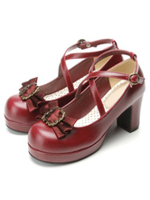 Lolitashow Classical Lolita Shoes Ribbon Bow Lolita Chunky Square Heels Shoes With Ankle Strap