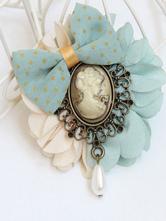 Lolitashow Vintage Lolita Brooch Bow Flower Pearl Lolita Brooch Pin Decorated Beauty