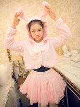 Lolitashow Sweet Lolita Jackets Pink Bunny Rabbits Ears Lolita Plush Hooded Jackets