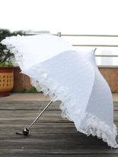 Lolitashow Sweet Lolita Umbrella Lace Trim Flora Printed Third-fold Lolita Parasol Umbrella Dual-use With Tower Shape