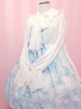 Lolitashow Sweet Lolita Clothing White Big Bow Chiffon Lolita Coat Long Flare Sleeves Lolita Hooded Cardigan