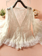 Lolitashow Sweet Lolita Clothing White Lace Ruffled Milanoo Lolita Cardigan With Flare Sleeves