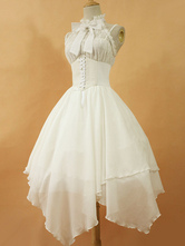 Lolitashow Gothic Lolita Dress JSK The Dawn White Chiffon Lace Bow Haltered Lace Up Irregular Lolita Jumper Skirt