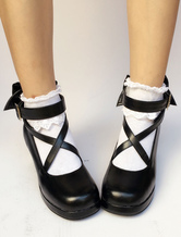 Lolitashow Black Lolita Shoes Round Toe Chunky Heel Cross Front Ankle Strap Bow Lolita Pumps