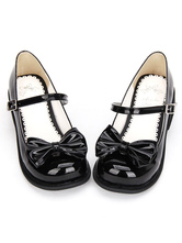 Lolitashow Sweet Lolita Shoes Black Bow Chunky Heel Round Toe Ankle Strap Mary Jane Shoes