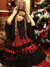 Lolitashow Sweet Lolita Dress JSK Christmas Check Bow Ruffle Lolita Jumper Skirt