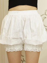 Lolitashow White Lolita Bloomers Lace Trim Elastic Plus Size Lolita Safety Pants