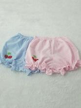 Lolitashow Sweet Lolita Bloomers Harajuku Cherry Vertical Stripe Lolita Pants