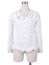 Lolitashow Sweet Lolita Shirts White Chiffon Long Sleeve Ruffle Lolita Blouse Top