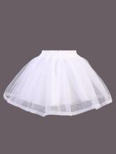 Lolitashow White Lolita Skirt SK Net Tiered Flare Lolita Underskirts
