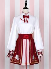 Rojo Lolita SK falda talle alto entrecruzamiento en Swan Lake Lolita falda