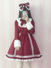 Lolitashow Sweet Lolita Dress OP Ture Red Lolita Dress Detachable Fur Collar Lace Trim Bow