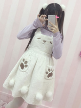 Lolitashow Sweet Lolita Dress JSK White Flannel Dress Kawaii Pom Poms Bear Lolita Dress