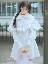Lolitashow Sweet Lolita Coat White Pom Pom Lolita Cape Coat