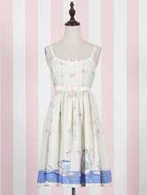Lolitashow Sweet Lolita Dress JSK Yellow Lolita Dress Cotton Printed Pleated Lolita Jumper Skirt