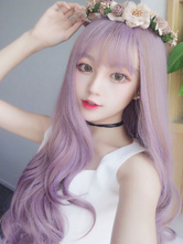 Lolitashow Sweet Lolita Wigs Long Purple Curly Synthetic Lolita Wig With Bang