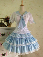 Lolitashow Sweet Lolita Outfit Sailor 2 Piece Set Light Blue Cotton Skirt With Shirt