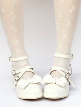 Lolitashow Sweet Lolita Shoes Ankle Strap Chunky Heel Lolita Pumps With Bow