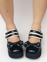 Lolitashow Black Platform Double Strap Lolita Shoes With Bow