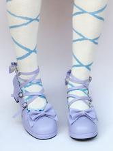 Lolitashow Purple Lolita Shoes Cross Strap Chunky Heel Bow Sweet Lolita Pumps Shoes