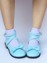 Lolitashow Sweet Lolita Shoes Blue Chunky Heel Round Toe Ankle Strap Lolita Pumps Shoes With Bow