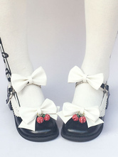 Lolitashow Sweet Lolita Shoes Round Toe Bow Ankle Strap Lolita Pumps