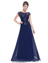robe mre de maris a ligne en chiffon bleu royal col rond avec ceinture longueur plancher - Robes De Ceremonies Mariage
