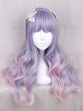 Sweet Lolita Wigs Lilac Wave Long Lolita Hair Wigs With Blunt Fringe