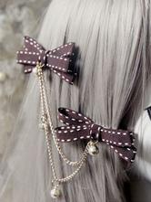 Sweet Lolita Hairpins Deep Brown Chained Bow Bells Lolita Hair Accessories