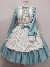 Angelic Pretty Replica Sweet Lolita Dress OP Ocean Blue Turndown Collar Long Sleeve Lolita One Piece Dress
