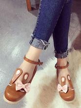 Sweet Lolita Shoes Light Brown Rabbit Ears Bow Ankle Strap Lolita Footwear