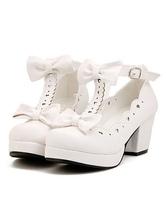 Sweet Lolita Shoes White Chunky Heel Platform T Strap Bows Lolita Footwear