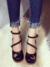 Sweet Lolita Shoes Soft Pink Stars Moon Ankle Strap Lolita Footwear