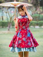 Qi Lolita Dress OP Red Stand Collar Chinese Dragon Printed Sleeveless One Piece Lolita Dress With Headpiece