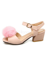 Pink Lolita Sandals Sweet Pom Pom Open Toe Ankle Strap Heeled Lolita Shoes