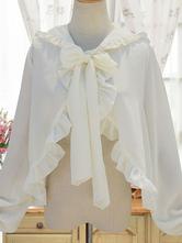 Sweet Lolita Cape Neverland White Chiffon Hooded Bow Tie Lolita Shawl